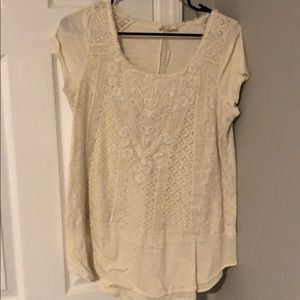 Anthropologie cream laced detail tunic